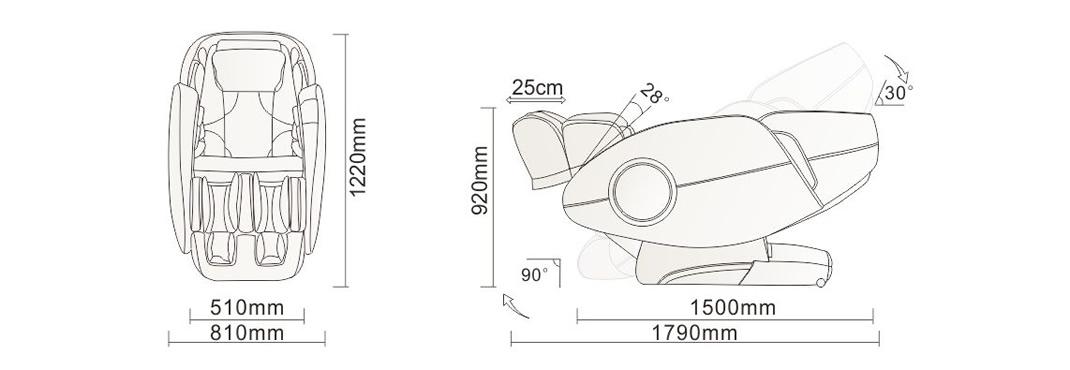 dimensions pour fauteuil de massage Komoder Victoria